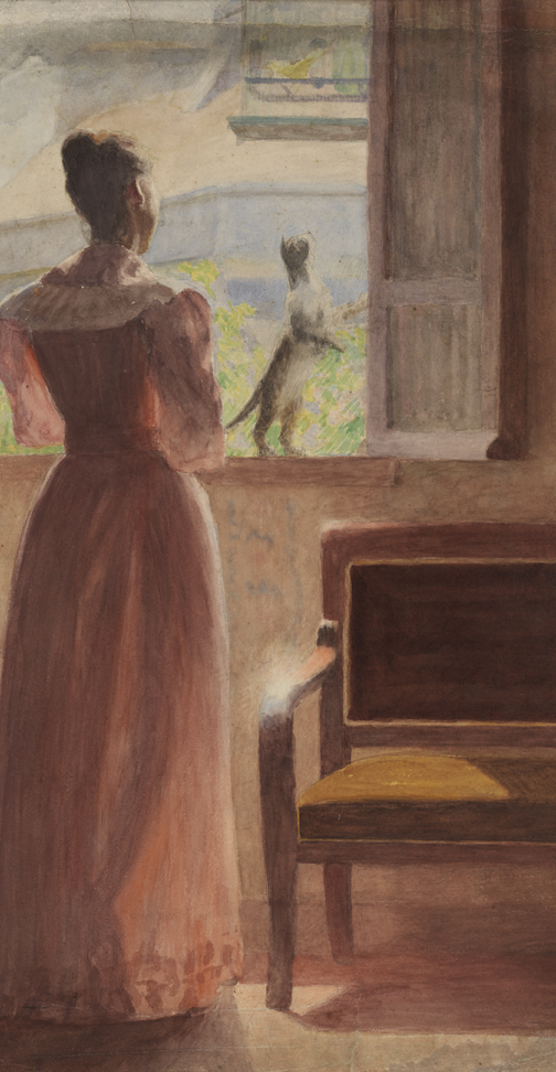 [Lady standing at window, with cat]