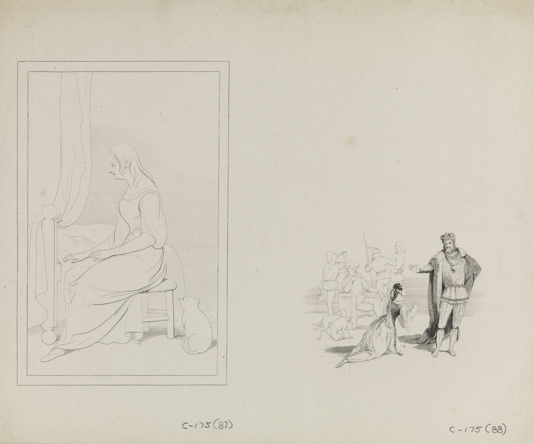[Girl and cat seated by a bed (vignette)];  [Young woman imploring a monarch]