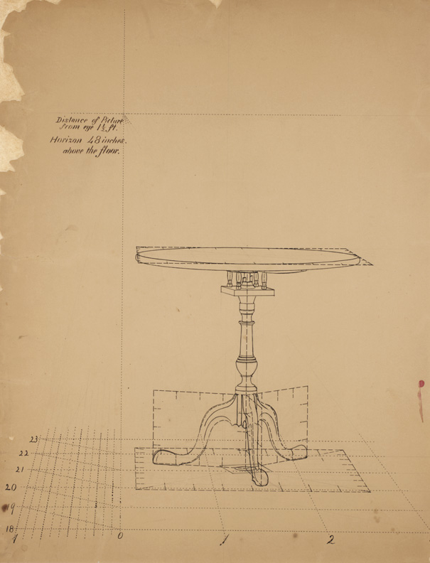 (Drawing 13: Perspective Study of Tilt-top Table, 1)