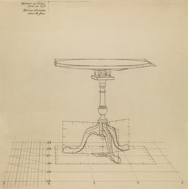 (Drawing 13: Perspective Study of Tilt-top Table, 2)