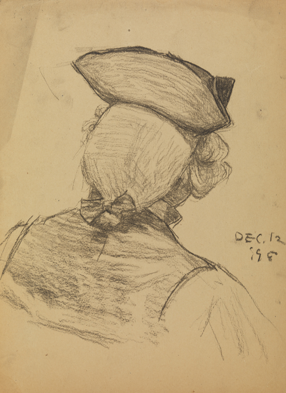 [Bust - Back view of man with tricorn hat]   PAFA ...
