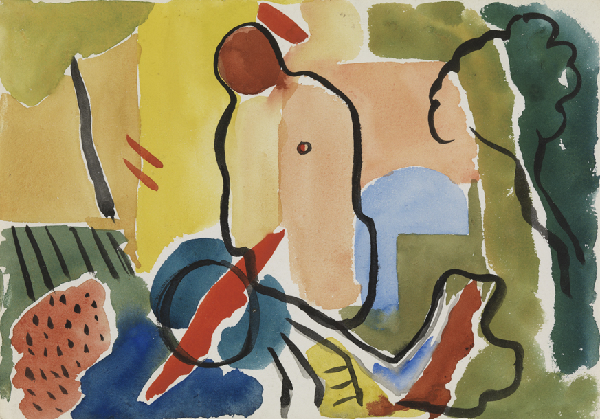 [Abstracted female figure in a landscape]