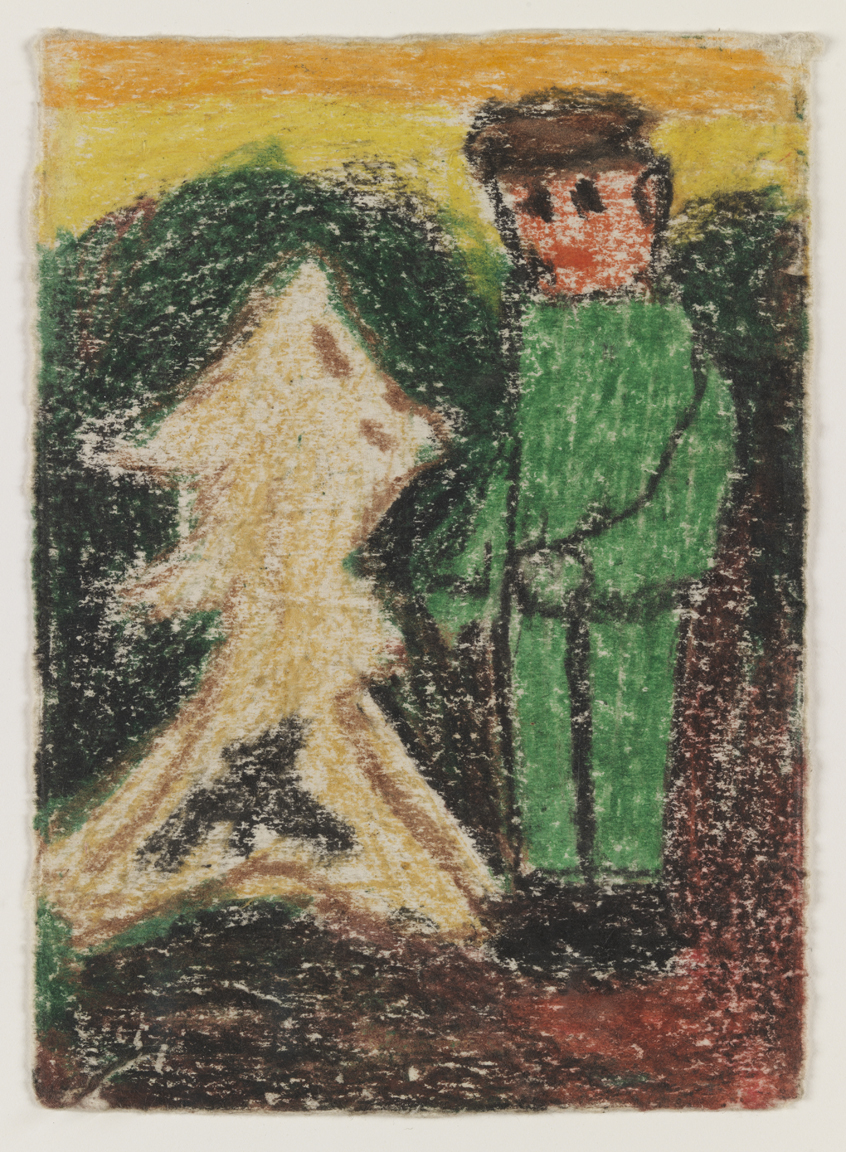 Untitled (Boy in green suit with abstract figure)