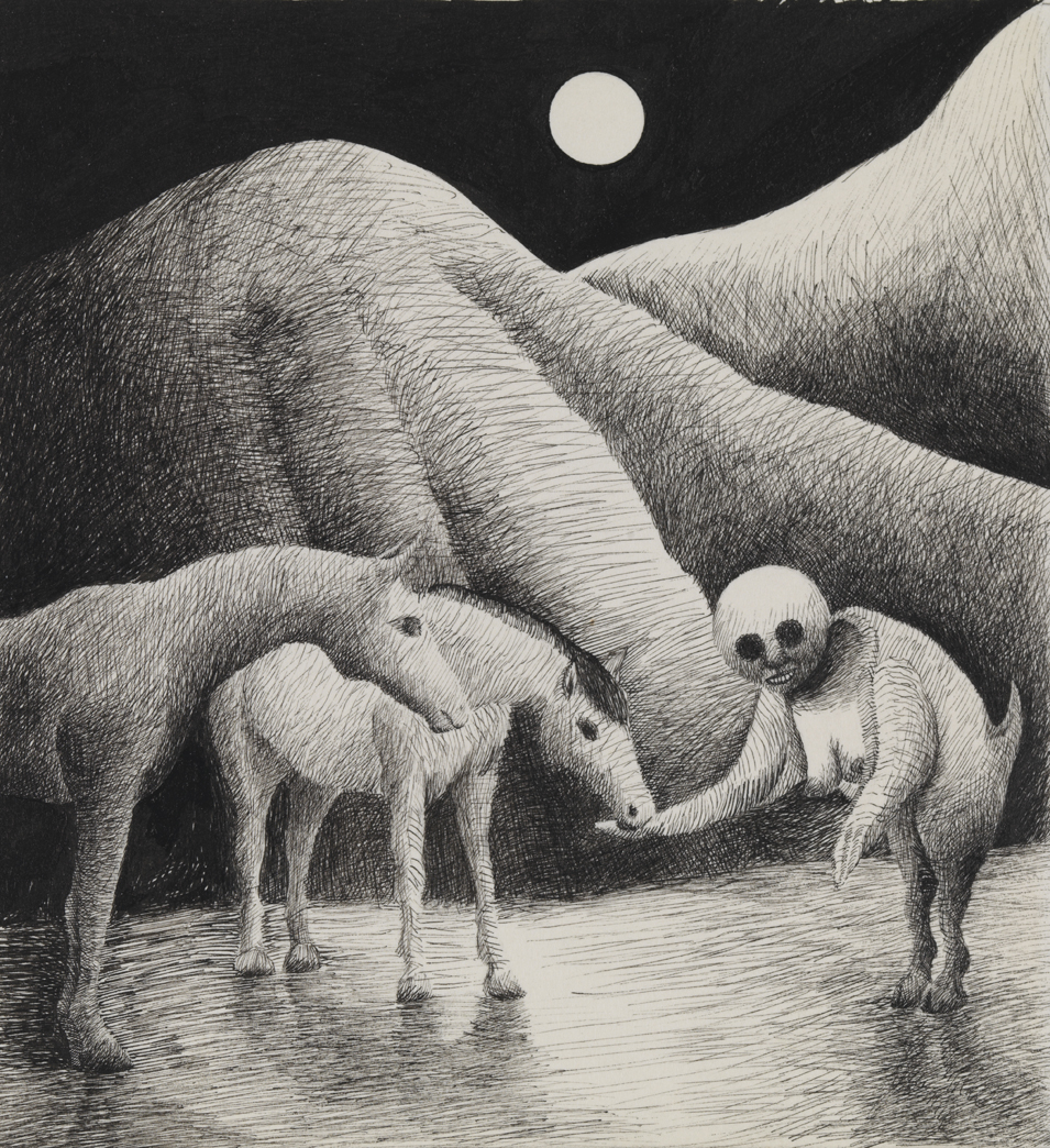 [Creature with two horses]