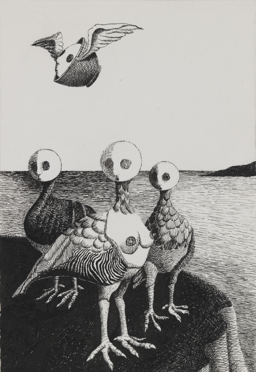 [Three bird creatures]