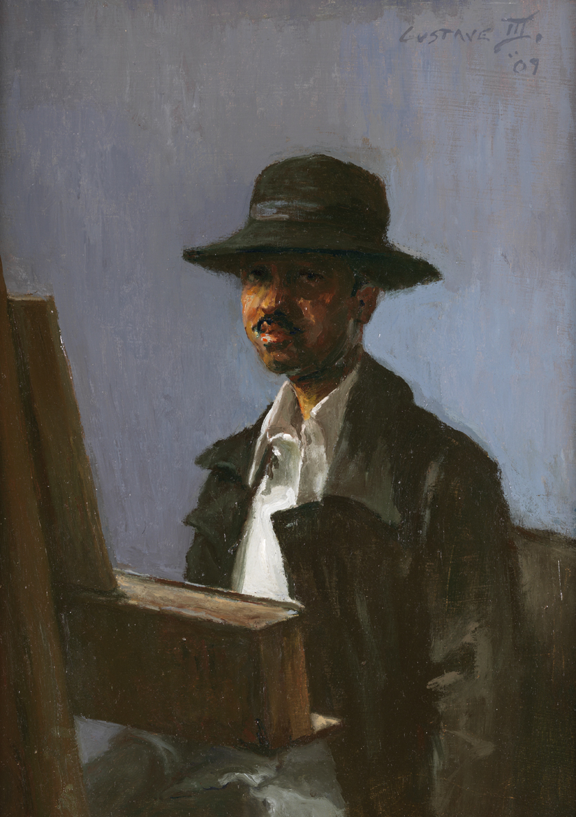 Self Portrait at Easel (Seated)