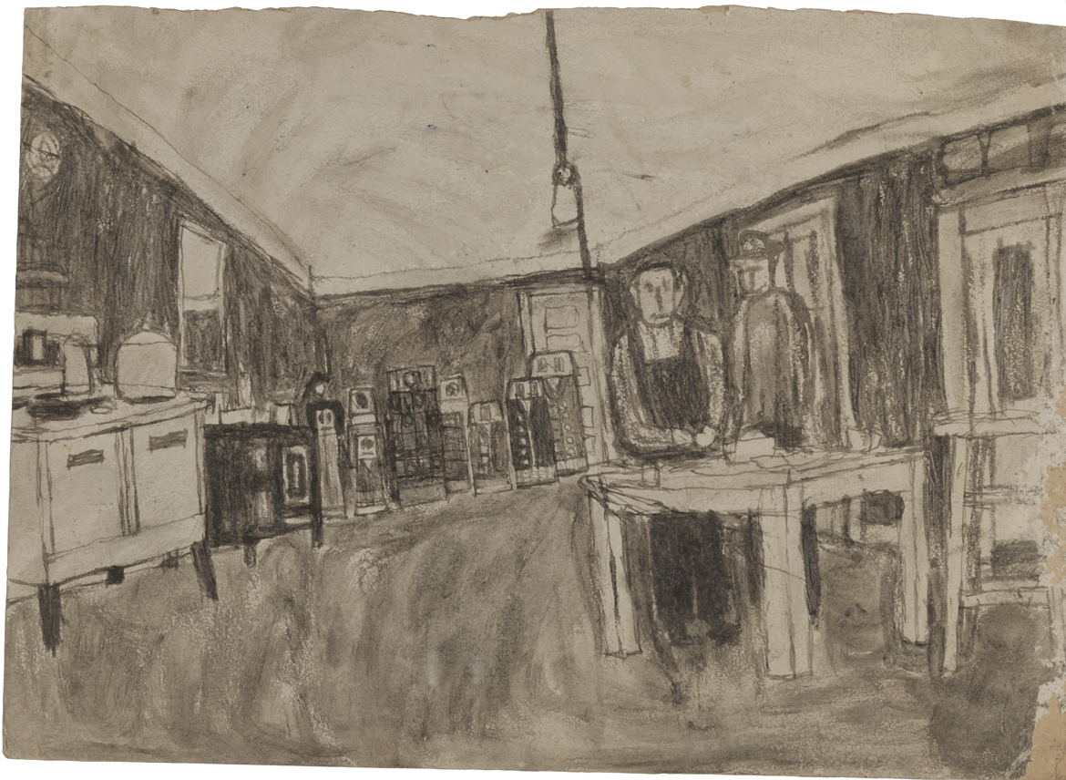 Untitled (Kitchen interior with figures; verso: house in color)
