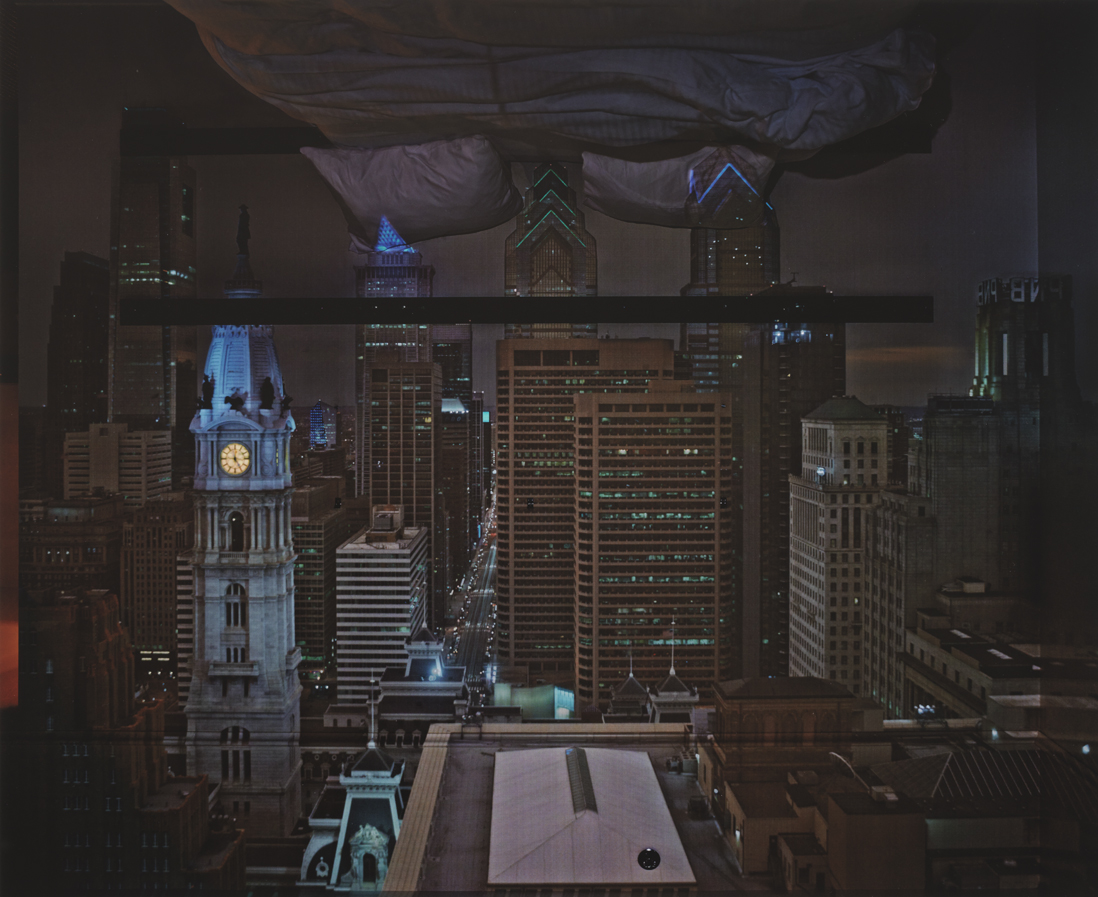 Camera Obscura: Night View of Philadelphia from Loews Hotel Room 3013 with Upside Down Bed