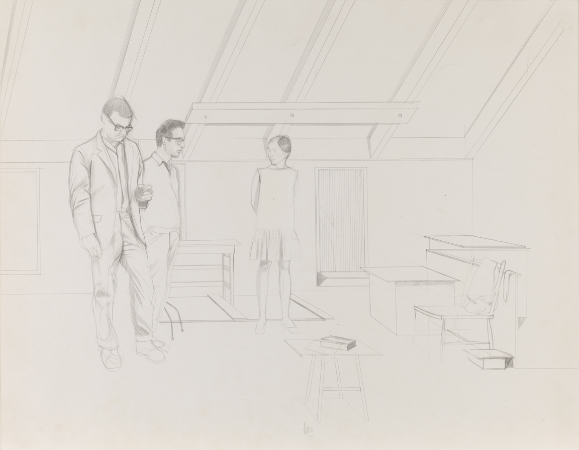 "In the Studio, study for ""Group"""