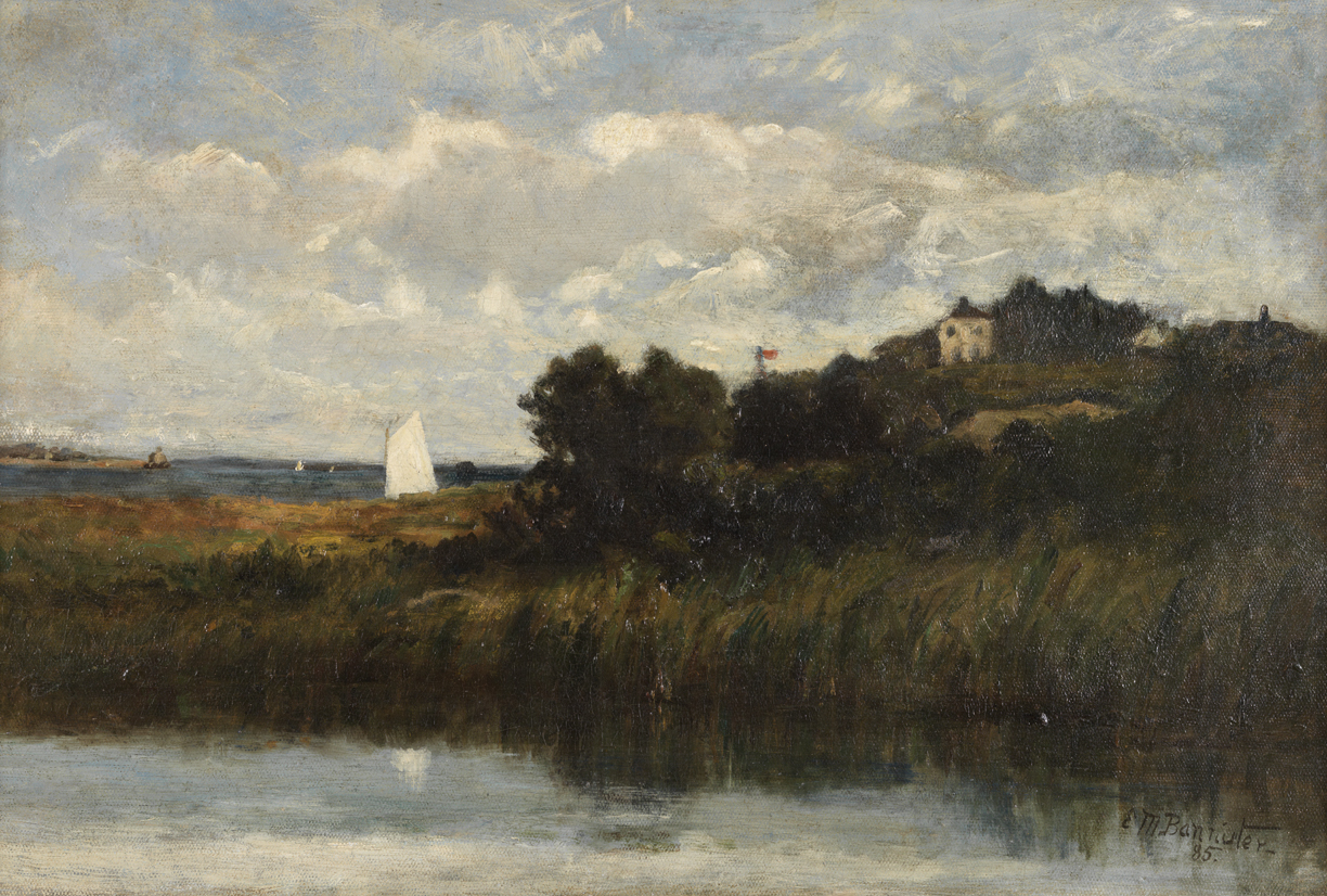 Untitled [Landscape with water and sail boat]
