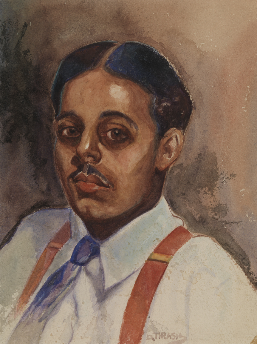 Untitled [Portrait of male with red suspenders]