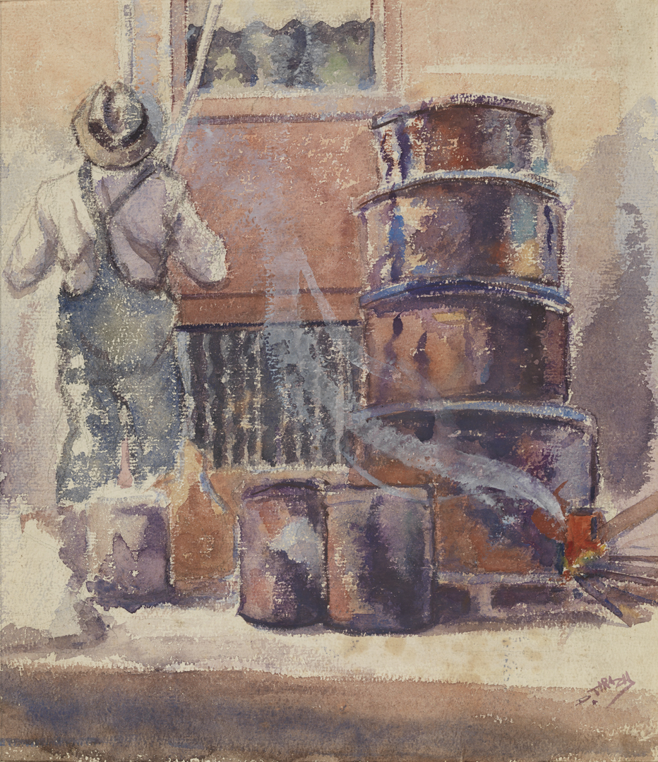 Untitled [Figure with oil barrels]