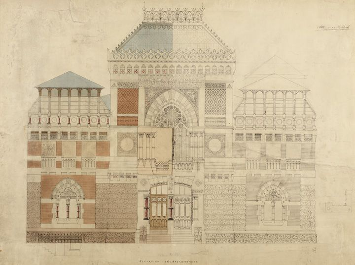 Frank Furness and George Wattson Hewitt, <em>ELEVATION:ON:BROAD:STREET:</em>, 1873-76, Black ink, watercolor wash, and pencil on white paper on mount, 25 1/2 x 34 1/2 in., 1876.6.8