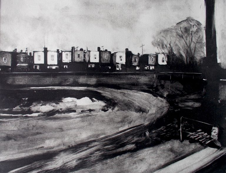 Shushana Rucker, Suburban Landscape, monotype.