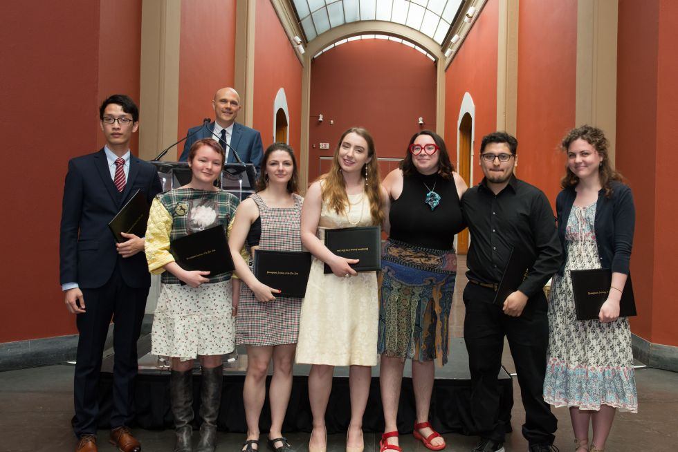 2018 Travel Scholarship Recipients (L-R): Ha Ninh Pham, Sal Heggeman, Julia McGehean, Jessica Smith, Caitlin O'dea Ott, Abelardo Quinones Jr., Elizabeth Endres.