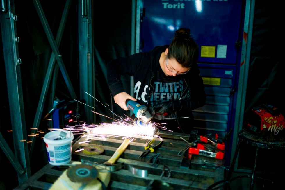 A student works in the metal studio.