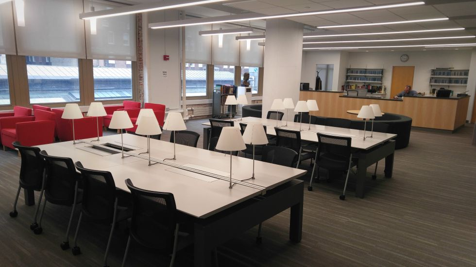 A reading room in PAFA's new library