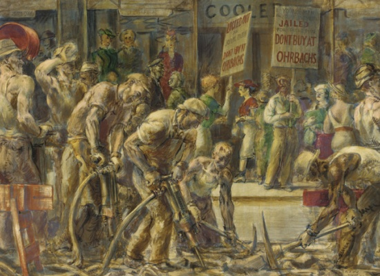 Reginald Marsh, <em>End of 14th Street Crosstown Line</em>, 1936, Egg tempera on composition board, 24 x 36 1/8 in., Henry D. Gilpin Fund, 1942.7.