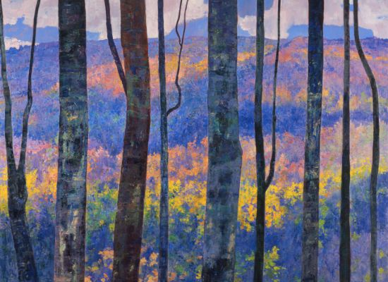 """Louis B. Sloan """"Frost Valley in the Catskills"""" (1995). Oil on canvas,  54 x 70 inches. Gift of Elizabeth Osborne."""