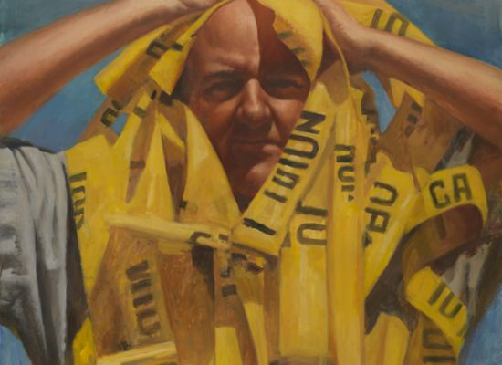 """Sidney Goodman, """"Self-Portrait with Caution Tape"""" (1998-1999). Oil on canvas, 68 x 47 inches. Museum Purchase."""