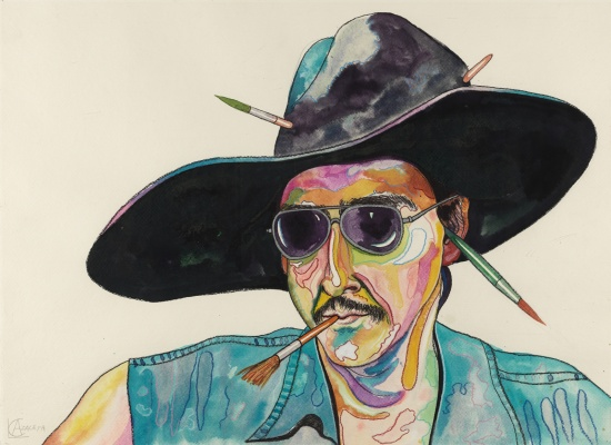 Luis Cruz Azaceta, <em>Self-Portrait with Phony Hat</em>, 1980, colored ink and pencils on paper, 22 1/8 x 30 in, Robert and Frances Coulborn Kohler Collection, 2013.10.2
