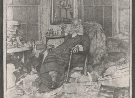 """Mark Stockton, """"The Poet in His Bedroom or Walt Whitman in repose amongst a chaos of papers in Camden in 1891"""" (2018). Graphite on Arches paper, 52 x 42 inches (framed), 50¾ x 40¾ inches (unframed). Museum Purchase (2018.43). © 2018, Mark Stockton."""