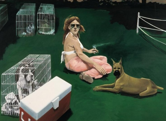 <em>Woman Surrounded by Dogs</em>, 1979-80, Oil on linen, 65 x 96 in., Hall Art Foundation