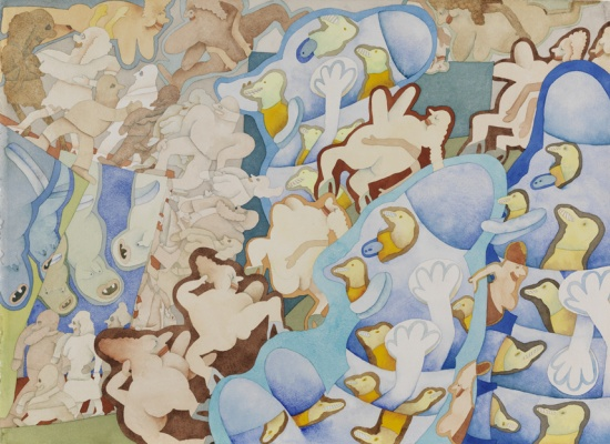 """Gladys Nilsson, <em>""""I Don't Remember What The Name Is"""" Duckbird Blues?</em>, 1968, Watercolor on paper, 30 x 22 in., John S. Phillips Fund, 2012.15"""