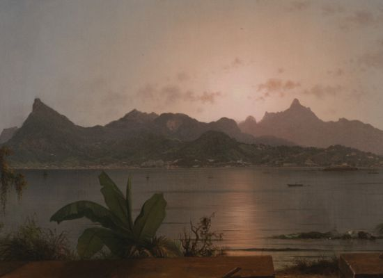 """Martin Johnson Heade, """"Sunset Harbor at Rio"""" (1864). Oil on canvas, 20 ⅛ x 35 inches. Henry C. Gibson Fund."""
