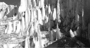 Art of Antarctica in the Time of Climate Change Joyce Campbell, Lower Wright Glacier, from Last Light. 2006. Silver Gelatin Negative. Courtesy of the artist
