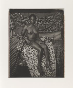 Portrait of Marie Sitting in Black and White Mickalene Thomas  ARTIST	Mickalene Thomas DATE OF BIRTH	(b. 1971) DATE	2012 MEDIUM	Photogravure with chine-collé on paper, ed. 1/20 DIMENSIONS	21 x 17 in. (53.34 x 43.18 cm.)