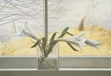Peter Blume, Lilies, 1938, opaque watercolor over graphite pencil on paper, affixed overall to thick cardboard, 15 x 22 in.