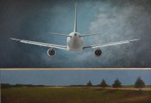Ted Walsh, Airplanes Above Me, 2014, oil on panel, 57 x 81 in.