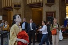 Eiko Otake performing A Body in a Station, 3 October, 2014, at Amtrak 30th Street Station
