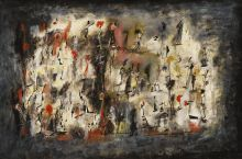 Title unknown (Street Scene), 1947, oil on board, 20 × 30 in., Collection of Raymond J. McGuire, New York, © Estate of Norman W. Lewis; Courtesy of Michael Rosenfeld Gallery, LLC, New York, NY