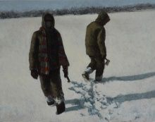 Ted Walsh, Snow Buddy, 2014, oil on panel, 12 x 15 in.