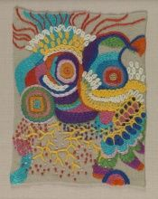 Edna Andrade, Untitled [Small Stitching Sample], n.d.,  Stitchery, 7 x 5 1/4 in., Art by Women Collection, Gift of Linda Lee Alter, 2011.1.246 © Estate of Edna Andrade, courtesy of Locks Gallery, Philadelphia