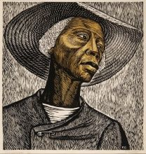 Elizabeth Catlett, Sharecropper, 1952, Linoleum cut, 17 5/8 x 16 7/8 in., The Harmon & Harriet Kelley Collection of African American Art Art © Catlett Mora Family Trust/Licensed by VAGA, New York, NY