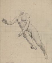 Kenyon Cox, [Commerce: figure study], 1903, Graphite on cream paper, 20 x 16 in., Academy Purchase with funds from the H. J. Heinz, II Charitable and Family Trust, 1982.8.2