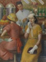 William Glackens, Soda Fountain, 1935, Oil on canvas, 48 x 36 in., Joseph E. Temple and Henry D. Gilpin Funds, 1955.3