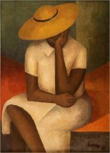 Girl With Yellow Hat, 1936, Oil on burlap, 361/2 × 26 in., Courtesy of Leslie Lewis and Christina Lewis Halpern from the Reginald F. Lewis Family Collection, © Estate of Norman W. Lewis; Courtesy of Michael Rosenfeld Gallery, LLC, New York, NY