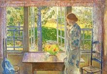 Childe Hassam, The Goldfish Window, 1916, Oil on canvas, 34 3/8 × 50 5/8 in., Currier Museum of Art, Manchester, NH, Museum Purchase: Currier Funds, 1937.2