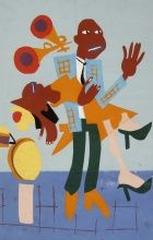 William Henry Johnson, Jitterbugs III, 1941-42, Pochoir, 16 1/2 x 10 1/2 in., The Harmon and Harriet Kelley Collection of African American Art