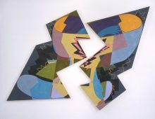 Elizabeth Murray, Breaking, 1980, Encaustic on two canvases, 106 x 148 in., Henry C. Gibson Fund, 2004.18a&b