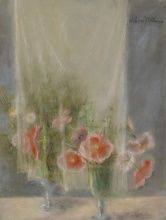Hobson Pittman, Still life: Poppies and Curtain, Pastel on gray laid paper, 24 7/8 x 19 in., Bequest of the artist, 1972.18.54
