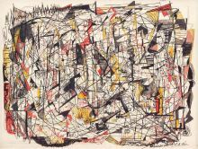 Rollercoaster, 1946, gouache, pen and ink on board, 12 × 16 in., Private Collection; Courtesy of Bill Hodges Gallery, © Estate of Norman W. Lewis; Courtesy of Michael Rosenfeld Gallery, LLC, New York, NY