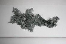 Laura Sallade, Untitled, hand-cut paper, 130 x 48 in.