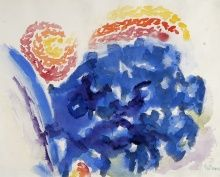 Alma Woodsey Thomas, Wind and Flowers, 1973, Watercolor on paper, 14 1/2 x 18 in, The Harmon and Harriet Kelley Collection of African American Art
