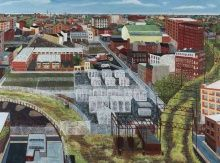 Sarah McEneaney, Trestletown, North from Goldtex, 2013, Egg tempera on wood, 36 x 48 in., Museum Purchase and funds provided by Gene Locks, Charles E. Mather III and Mary McGregor Mather