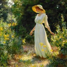 Charles C. Curran, A Spray of Goldenrod, 1916, Oil on canvas, 14 x 14 1/4 in., Private Collection